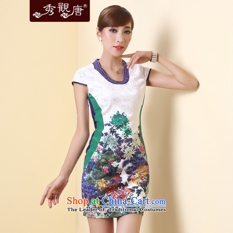 -Sau Kwun Tong- based on 2015 Summer summer new improved cheongsam dress Stylish retro stamp Sau San female White聽XXL