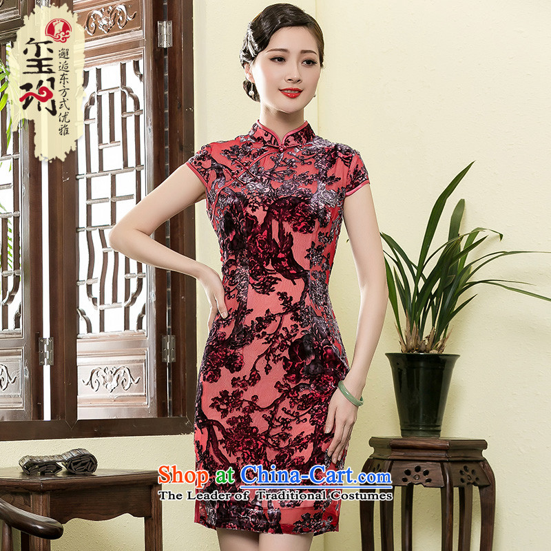The seal of the Summer 2015 New Silk burned lint-free short of Qipao daily improved banquet cheongsam dress photo color燲L