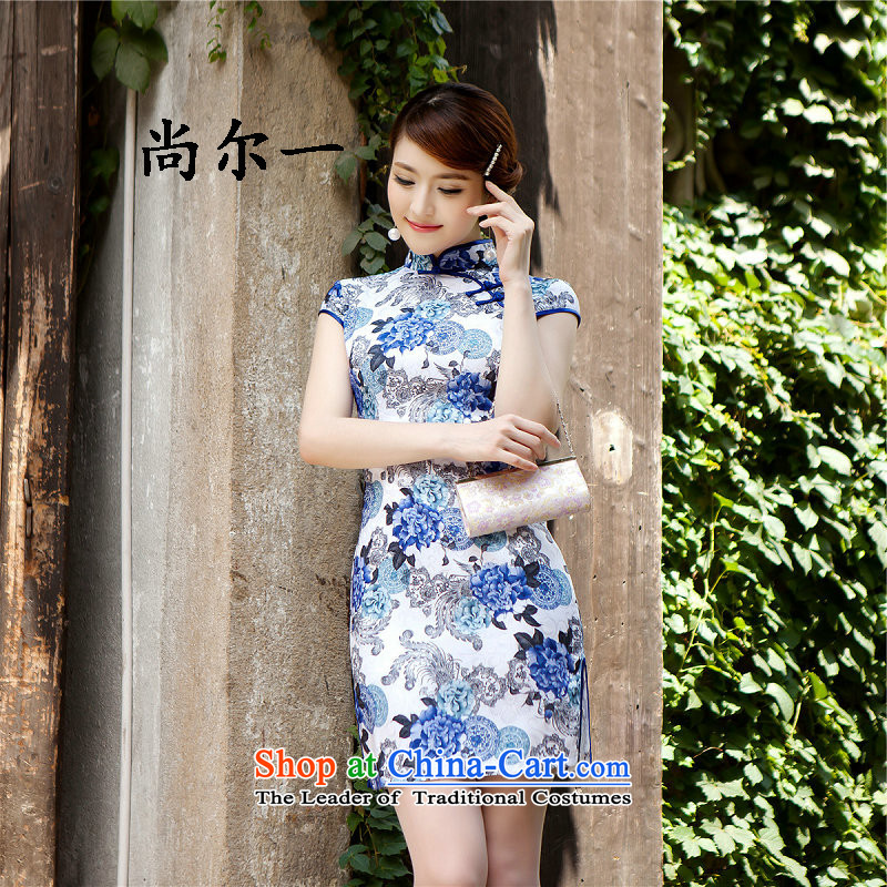 Yet, a new summer stylish improved dresses daily qipao skirt elegance lady porcelain qipao�24爈ight blue燬