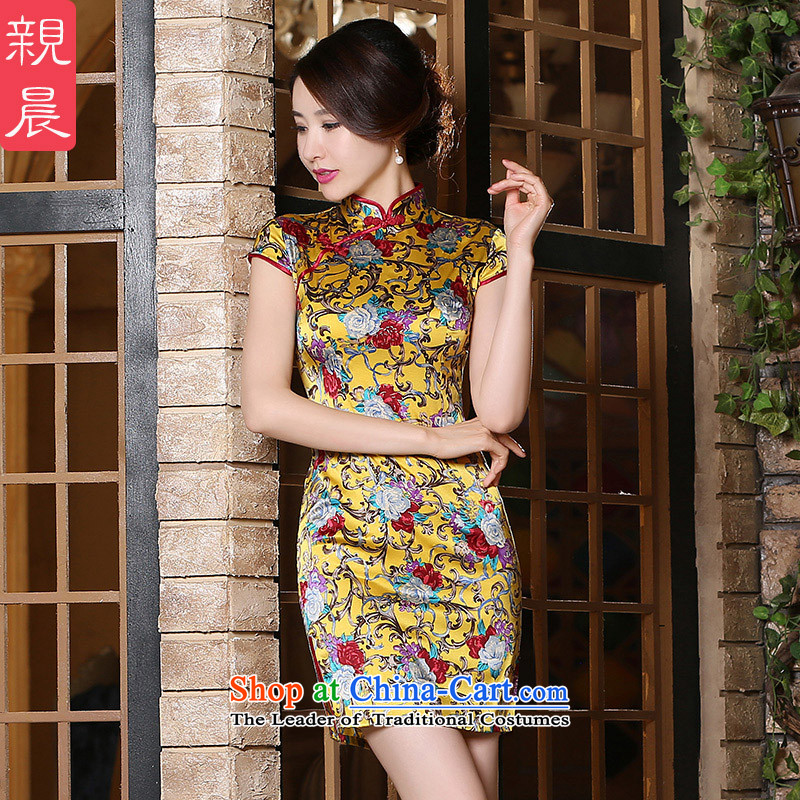 The pro-am new day-to-day summer 2015 upscale Ms. herbs extract short, short-sleeved heavyweight Silk Cheongsam Dress Short,?L