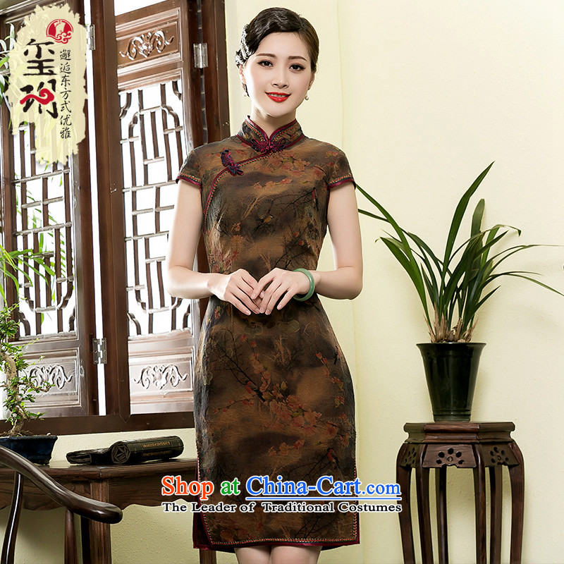 Seal of 2015 Summer Scent of silk cheongsam dress cloud yarn retro-day Republic of Korea wind short of improvement, the skirt picture color燲XL