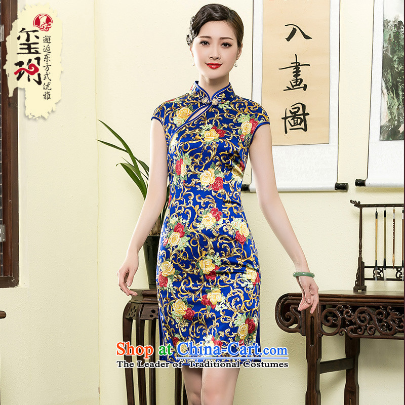 The seal of the Summer 2015 new heavyweight Ms. Silk Cheongsam retro style improved daily cheongsam dress photo color燬