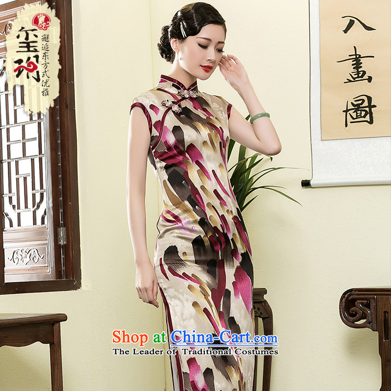 The seal of the Summer 2015 New Silk Cheongsam long arts stamp improved Ms. short-sleeved Tang dynasty dresses picture color?M
