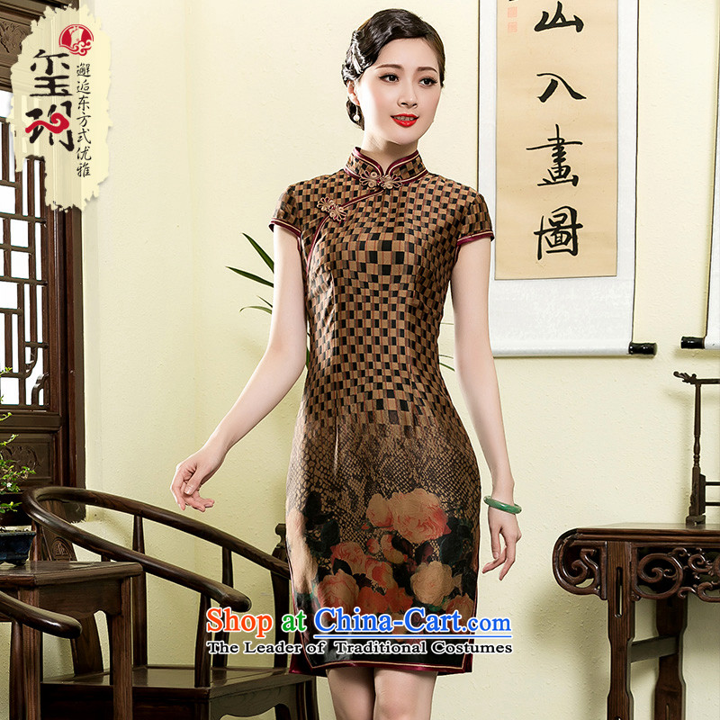 The seal of the?new 2015 Summer retro grid incense cloud yarn short qipao daily improved Tang Dynasty Silk Dresses picture color?M