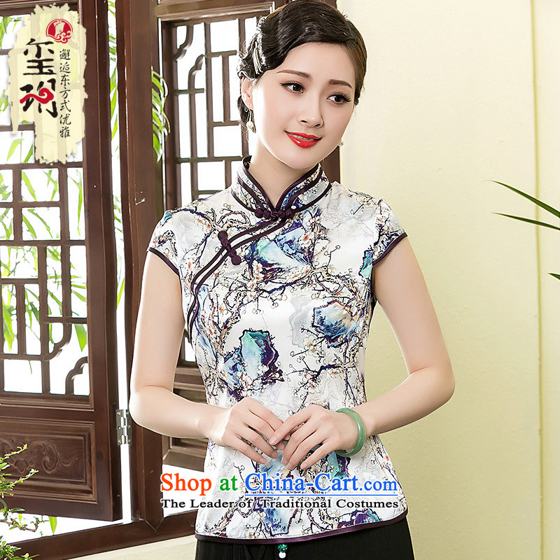 The seal of a new summer, Heavyweight Silk Cheongsam shirt retro elegant improved Chinese short-sleeved Ms. Tang dynasty picture color XXL