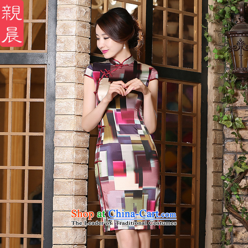 The pro-am daily new 2015 Summer improved fashionable upper Silk Cheongsam Dress Short, Ms. Short-sleeved dresses short, XL-15 day shipping