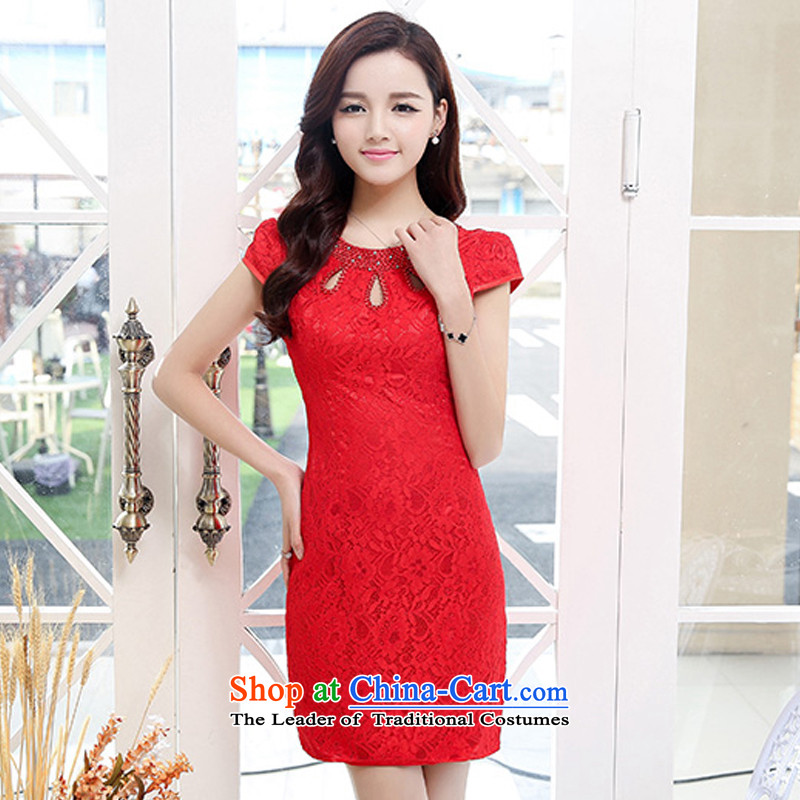 Uyuk 爉arriages bows cheongsam dress�15 new improved cheongsam dress red retro Wedding Dress Short-sleeved red燲L