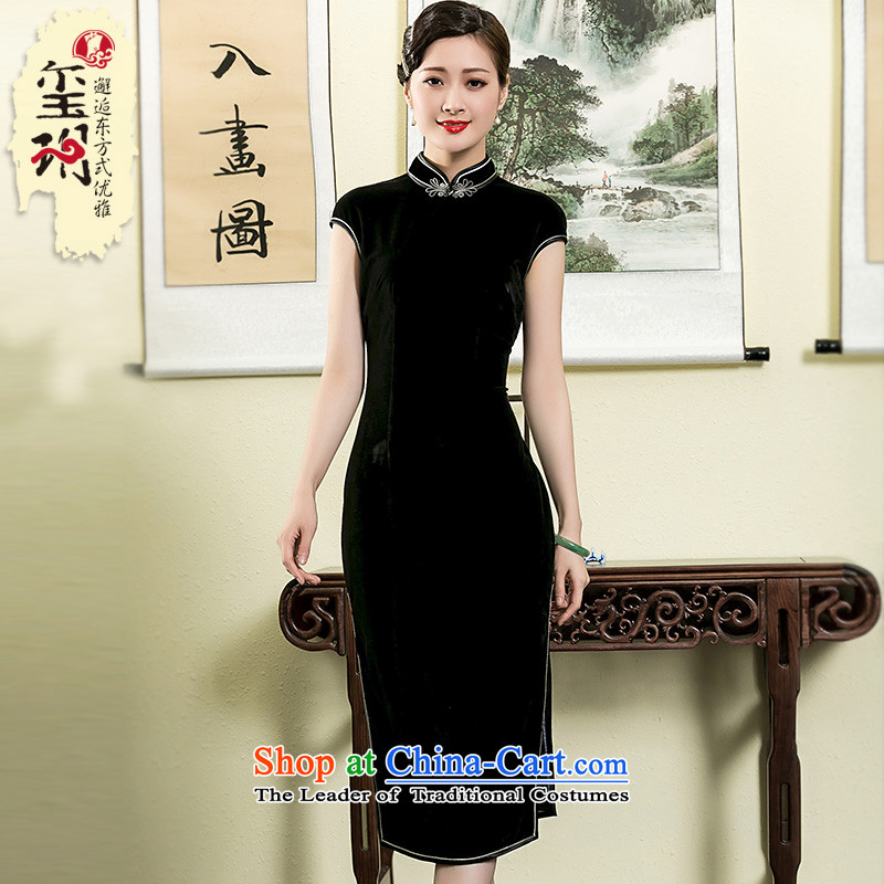 The seal of the Summer 2015 new scouring pads in Korea, lint-free long cheongsam elegant Ms. improved daily dresses black M