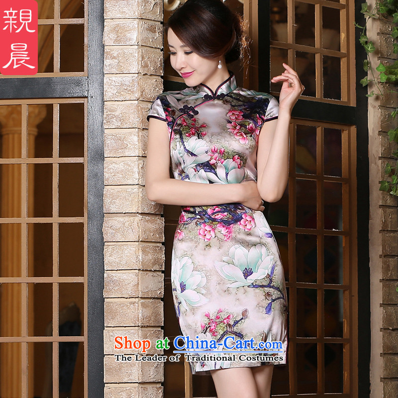 The new 2015 pro-am-to-day summer short of stylish improved short-sleeved upscale silk herbs extract cheongsam dress short)?S
