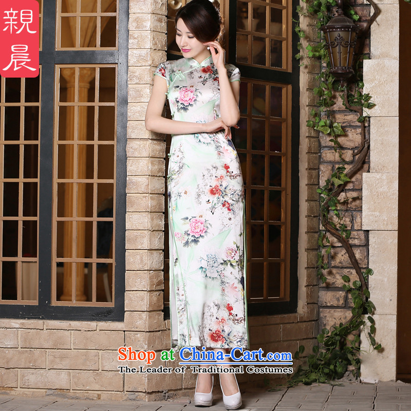 At 2015 new pro-summer day-to-day short, short-sleeved silk cheongsam dress upscale Ms. improved stylish dresses long?M