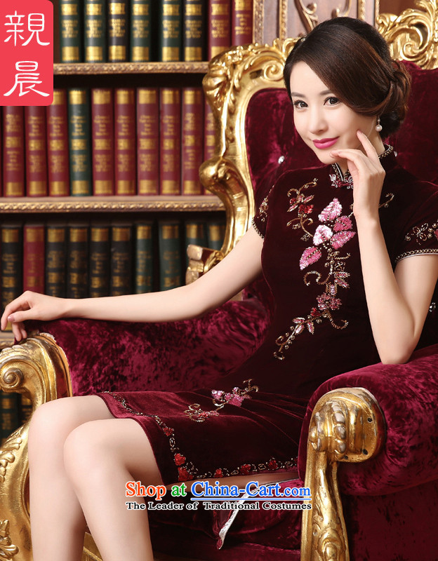 Gold velour cheongsam dress wedding dress wedding dresses with her mother in 2015 new older summer and fall short of 2XL