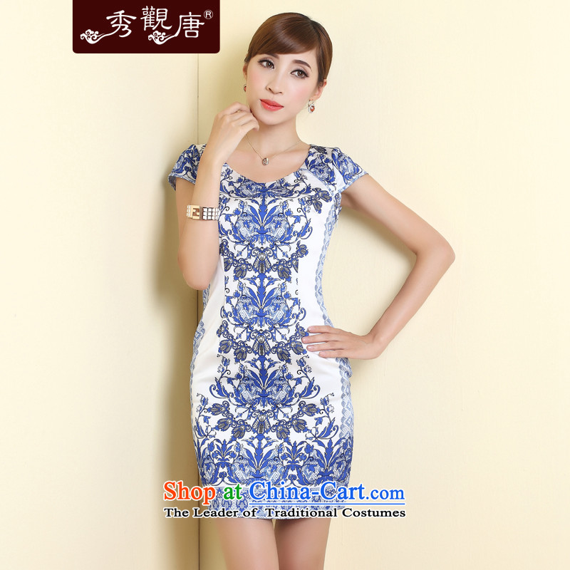 -Sau Kwun Tong- blueberries antique porcelain qipao 2015 Summer new improved stylish skirt suits XL