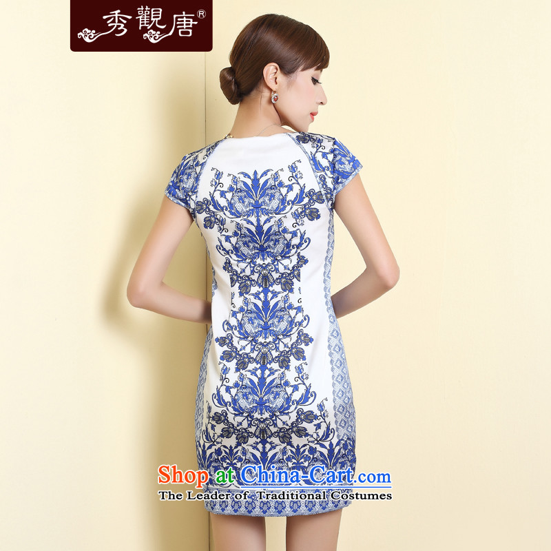 [Sau Kwun Tong] blueberries antique porcelain qipao聽2015 Summer new improved stylish skirt suits聽XL, Sau Kwun Tong shopping on the Internet has been pressed.