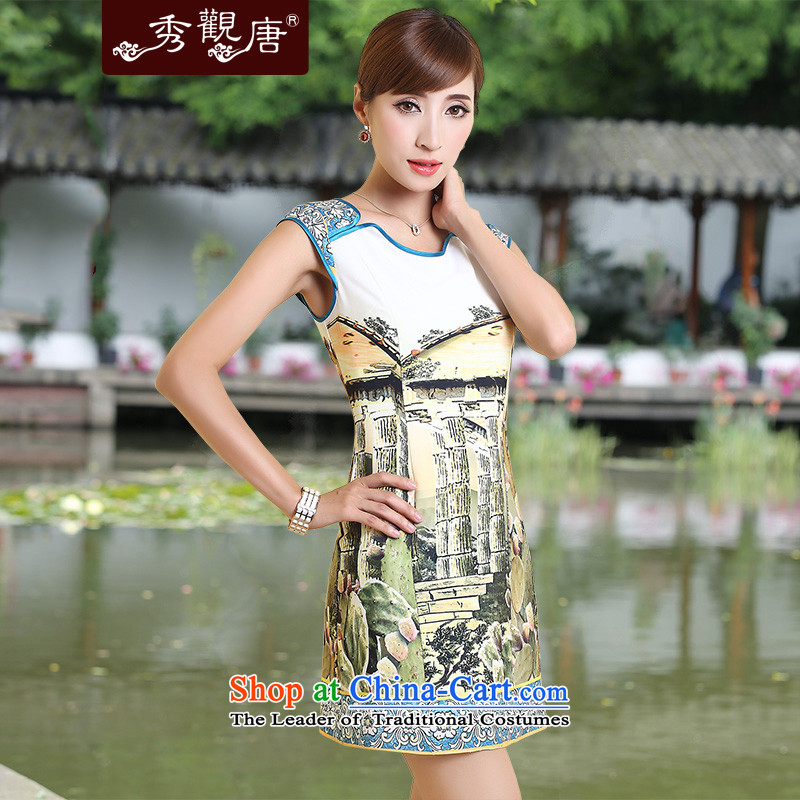 -Sau Kwun Tong- Yanta 2015 Summer open improved qipao retro Couture fashion dresses Suit M