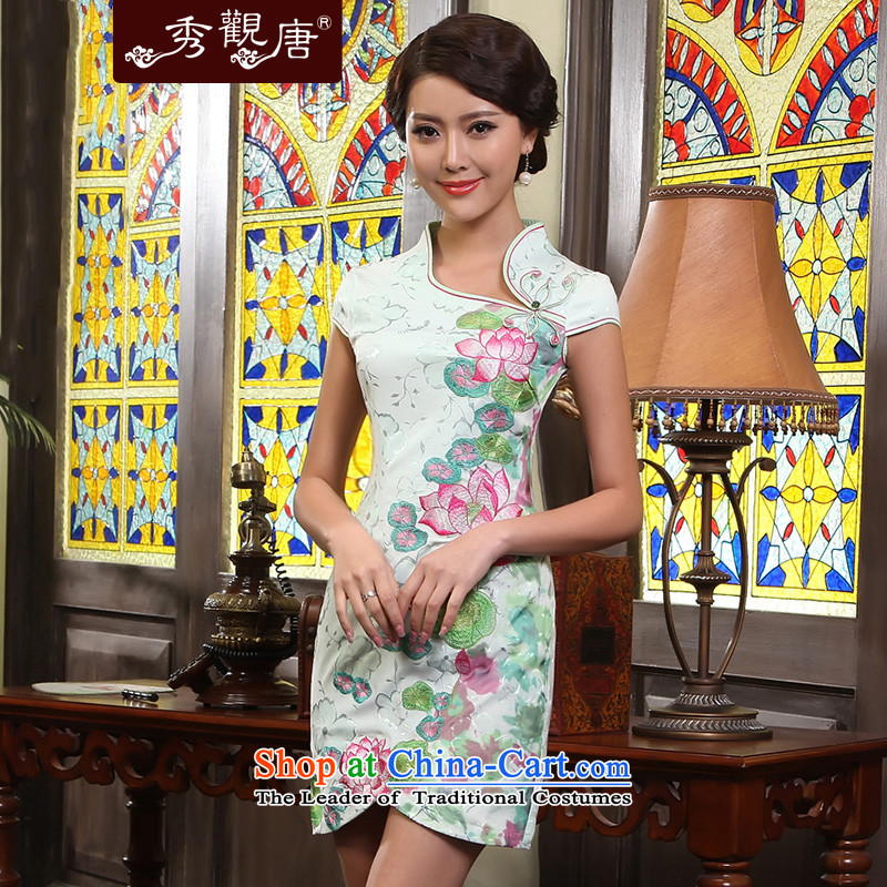 -Sau Kwun Tong- show improved stylish cheongsam dress I should be grateful if you would arrange for爏ummer 2015 new embroidered dress photo color燲XL