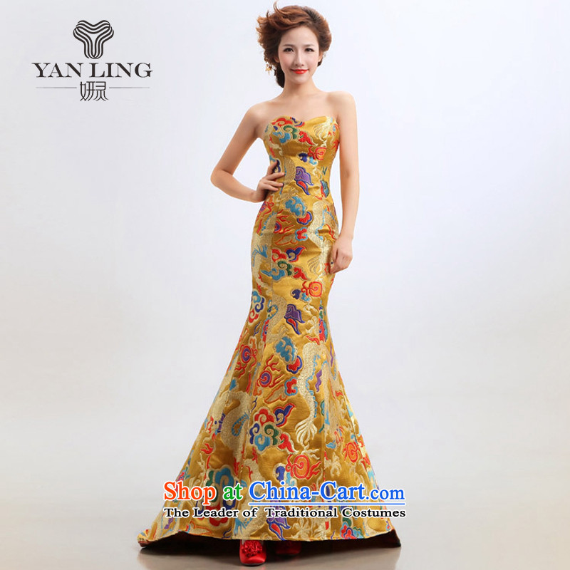 The new star of the 2015) robes of the dragon, marriages cheongsam dress bows wedding will yellow?S