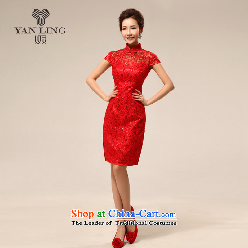 Package Style improvement short, shoulder and sexy transparent lace marriages cheongsam dress for summer 2015 New Red?M