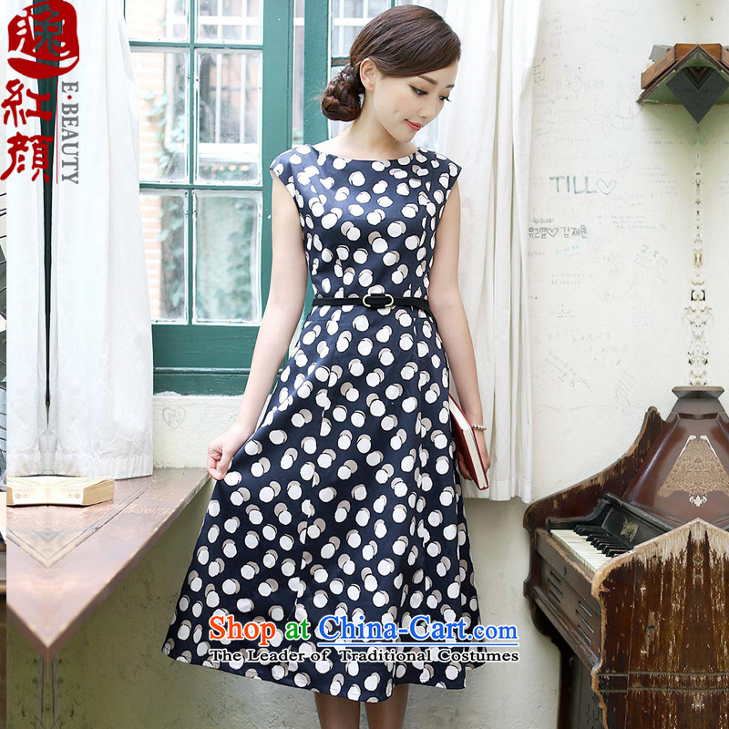 A Pinwheel Without Wind Yat Indus China wind retro arts van wave point cheongsam dress ethnic sleeveless Female dress blue燲L