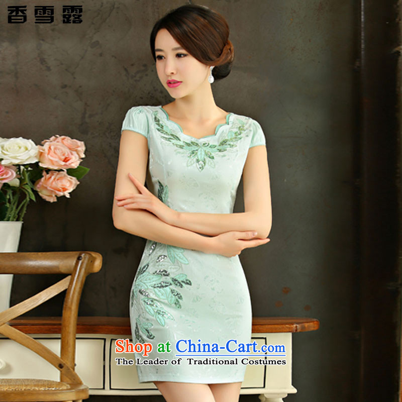 Xiangxue terrace�15 Summer new improved female cheongsam dress retro-day short of Sau San qipao gown X001 Green燬