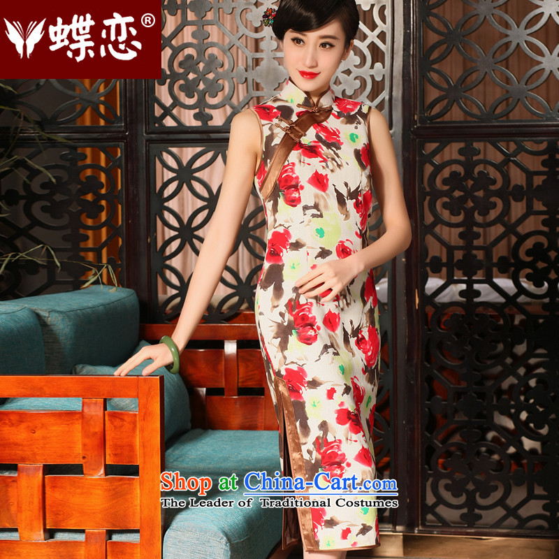 The Butterfly Lovers 2015 Summer new improved stylish long cheongsam dress daily retro cotton linen dresses 54229 rose S