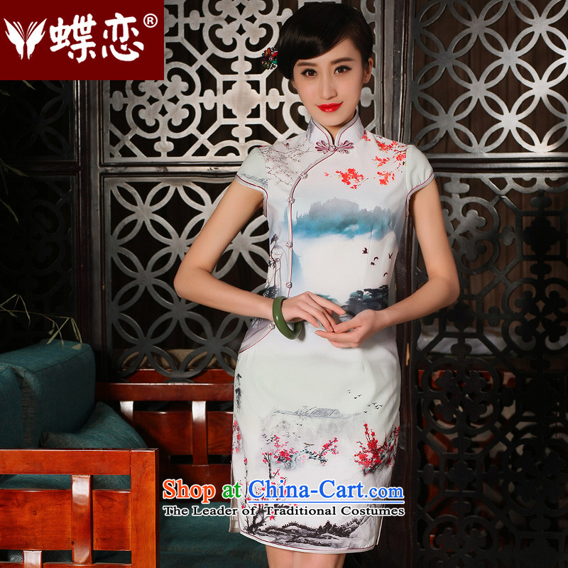 The Butterfly Lovers the爏ummer and autumn of 2015, replacing the new improved stylish emulation Silk Cheongsam Dress Short of qipao retro-day 54230 figure燲XL
