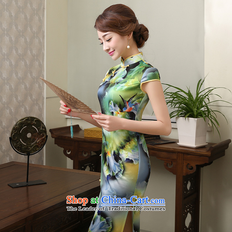 The new 2015 spring_summer load cheongsam dress stylish improved daily retro skirt qipao Sau San long skirt female燣