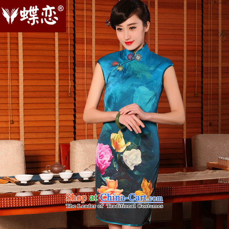 The Butterfly Lovers?2015 Summer new stylish improved cheongsam dress emulation Silk Cheongsam 54233 retro short sleeve in the Mood for Love?S