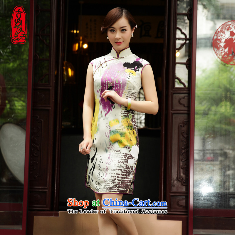 The Wu female red 2015 Summer Silk Cheongsam new daily short of Ms. Sau San qipao skirt retro dresses燘燤