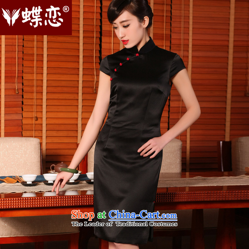 The Butterfly Lovers 2015 Summer new retro silk cheongsam dress stylish improved daily short-sleeved qipao of 54,234 Black XL