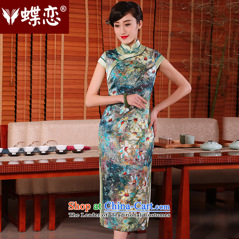 The Butterfly Lovers?2015 Summer new daily retro long cheongsam dress stylish Silk Cheongsam as improved figure?XL