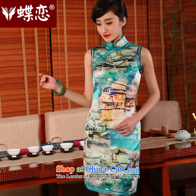 The Butterfly Lovers in爏ummer and autumn 2015 new stylish improved short of qipao dresses retro daily Silk Cheongsam sparkling燬