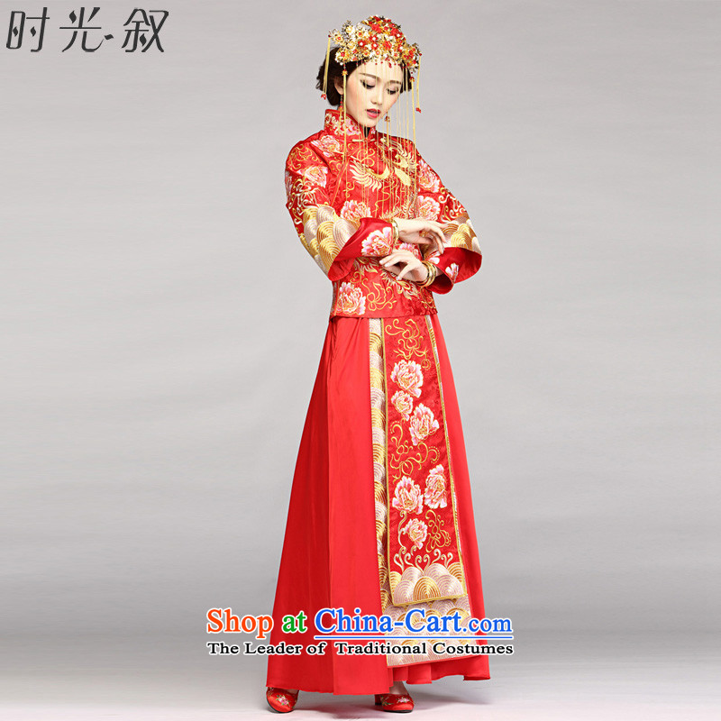 The Syrian Chinese dragon use time-soo wo service new autumn and winter marriages retro dress bows services-soo and red embroidery Tang Gown cheongsam wedding costume RED M