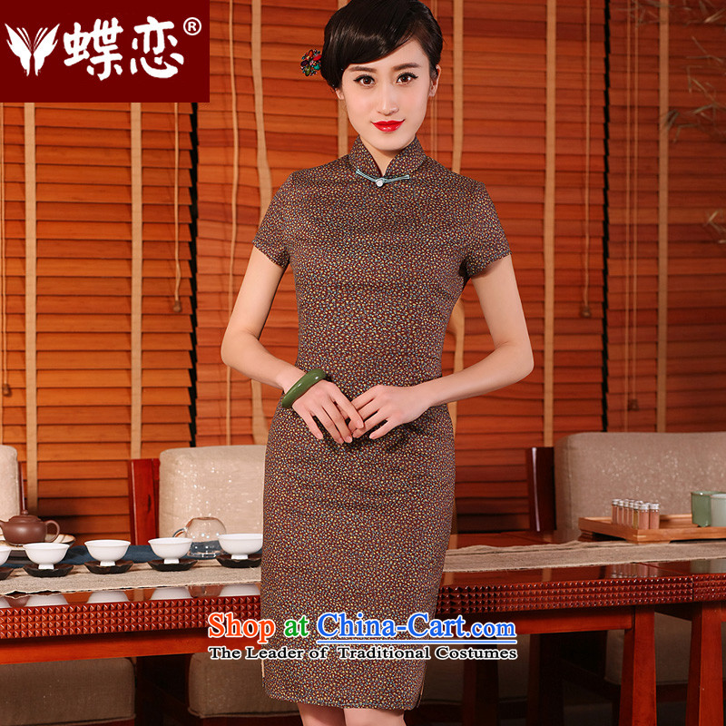 Butterfly燬pring and Summer 2015 land new stylish improved cheongsam dress retro cotton linen short-sleeved daily cotton floral qipao - 10 days pre-sale燲XL