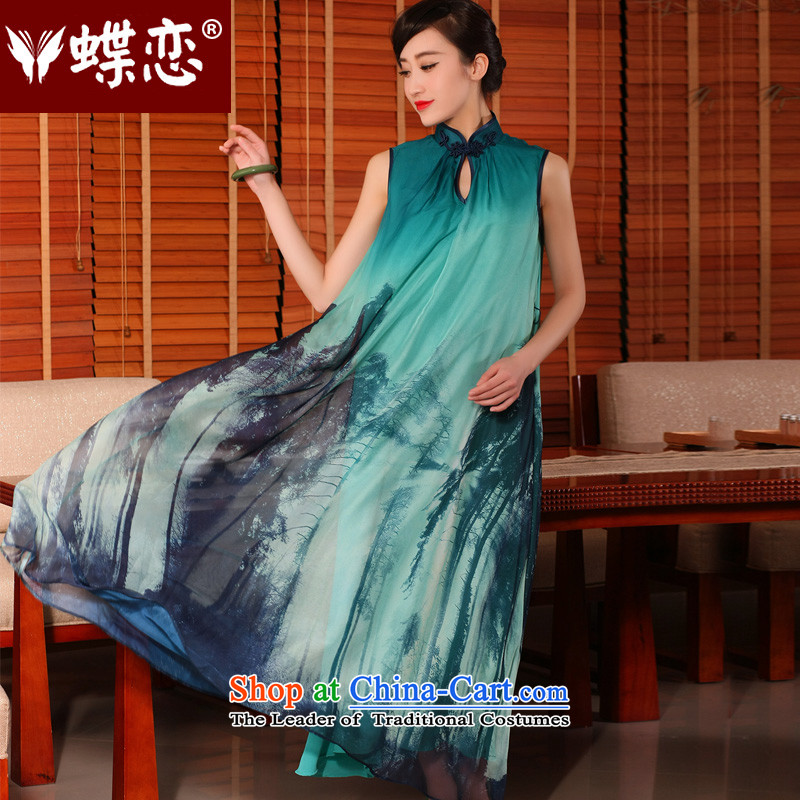 Butterfly Lovers Tsing shirt 2015 Summer new improved stylish relaxd loins length, Retro cheongsam dress Tsing shirt L