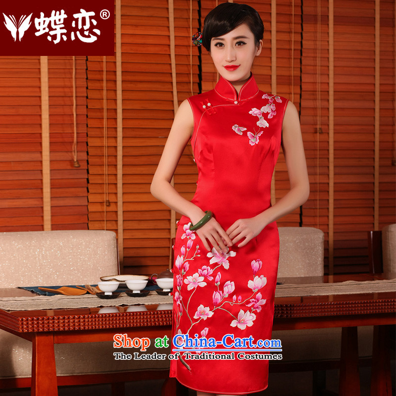 The Butterfly Lovers?2015 Summer new heavyweight silk cheongsam dress manually push embroidered bows to sepia marriage cheongsam red?L