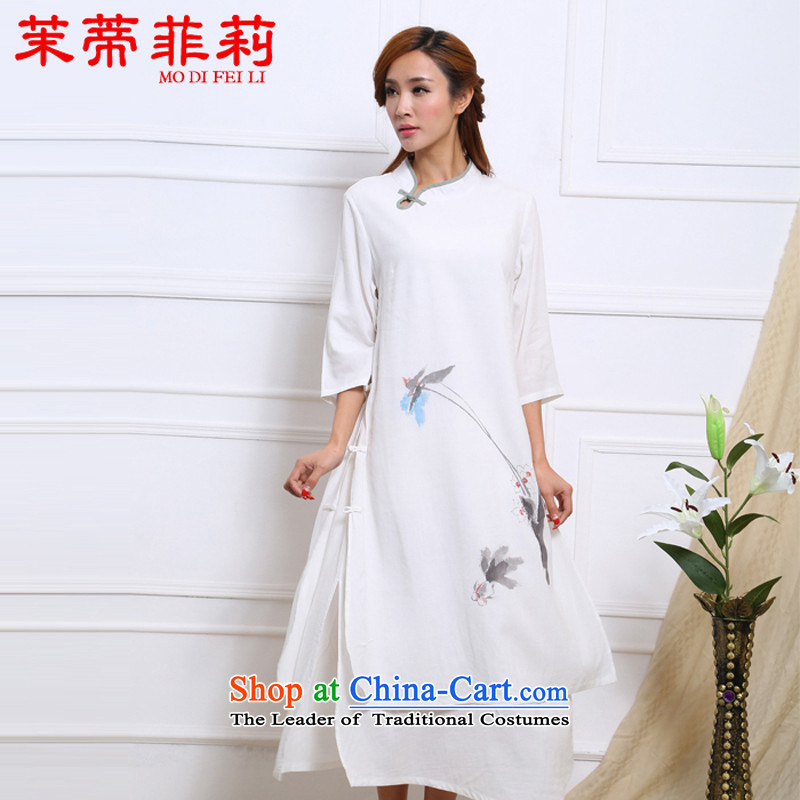 Energy Tifi Li retro cotton linen dresses female national hand-painted ink improved Han-girl long skirt White燤