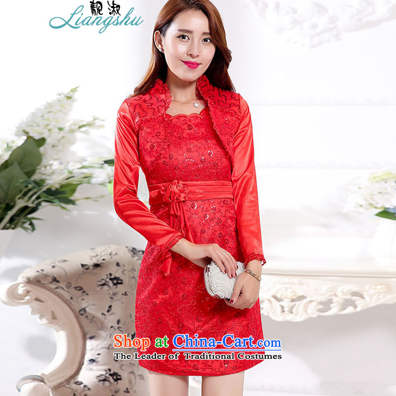 Mrs 2015 autumn and winter talks with the new Korean bridal dresses stylish xl dress jacket two kits dresses female RED?M