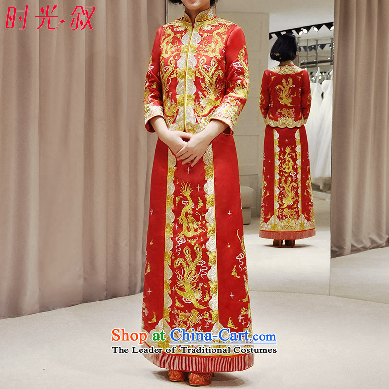Time High-end embroidery Longfeng Syrian use su Wo Service autumn and winter new Chinese wedding dresses marriages qipao bows service wedding dress gold and silver thread use skirt red燲L