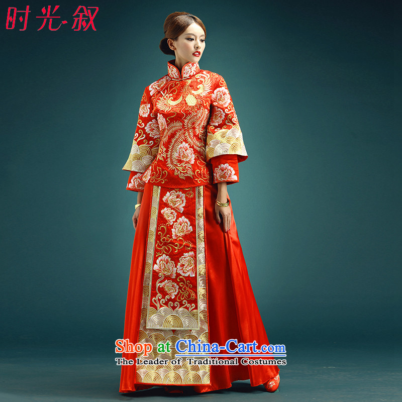 Time the new 2015-soo Syrian Wo service use skirt-soo kimono Dragon Classic Wedding Dress Chinese wedding dress retro bride bows to ancient Tang Red L