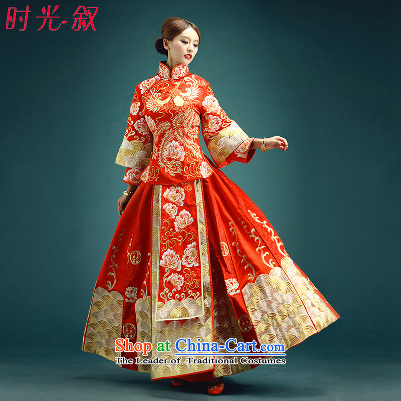 Time High-end Syria custom new retro Chinese wedding dress summer red dragon serving wo use su costume marriage solemnisation services-hi marriages bows wedding red XXL