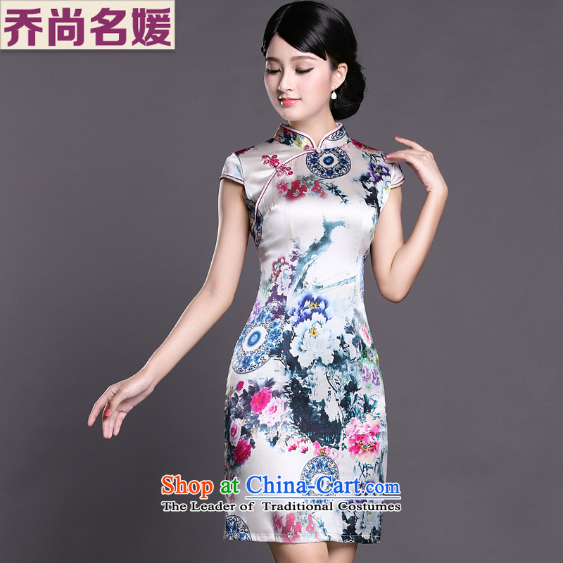 Joe was aristocratic silk cheongsam dress upscale summer improved Tang Dynasty Chinese ZS013 SUIT S