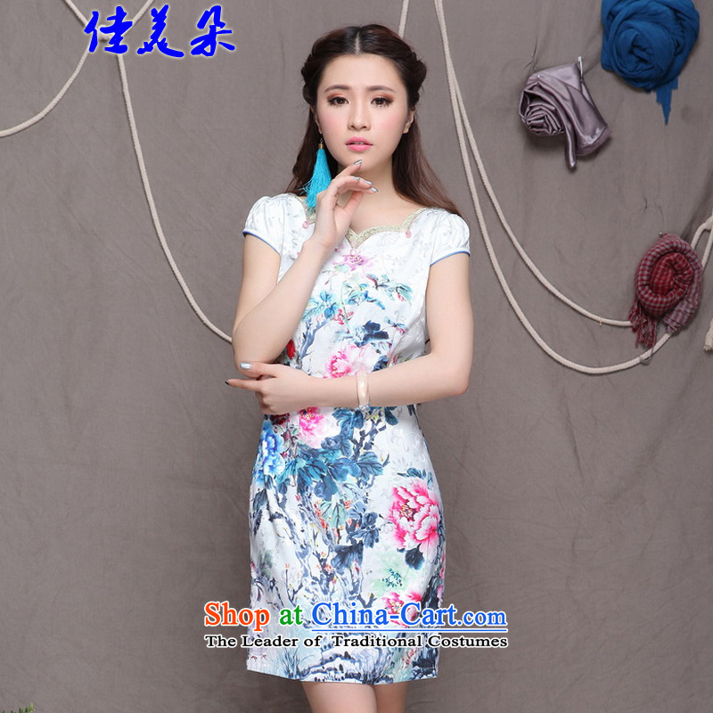 Jia Mei flower�  2015 China wind ethnic improved stylish commuter Sau San video thin cheongsam 9904_ white燬
