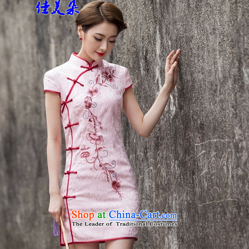 Jia Mei flower?  spring and summer 2015 New Tang dynasty and the relatively short time, the improvement of nostalgia for the day-to-Sau San cheongsam dress cheongsam dress pink?S 1124_