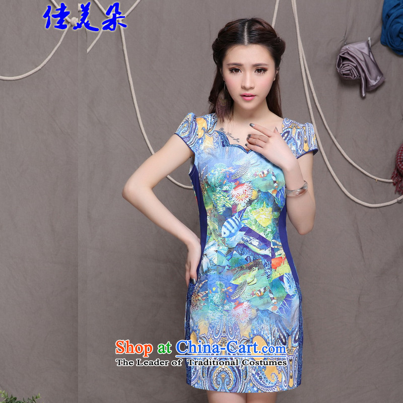 Jia Mei? 2015 new national flower-style Chinese cheongsam dress daily retro graphics build qipao 9908_ Sau San picture color?M
