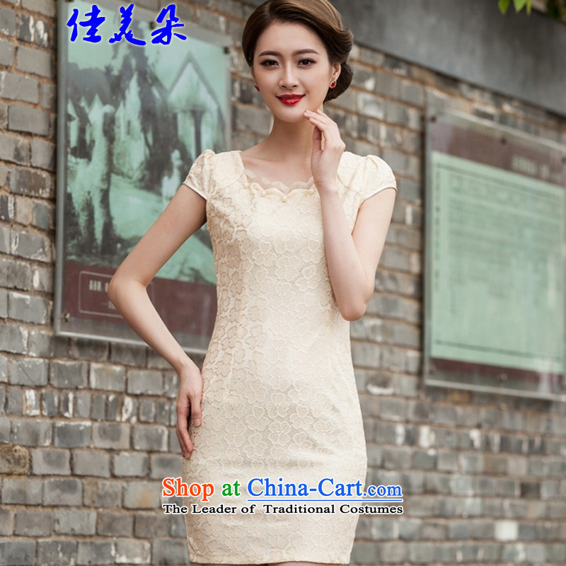 Jia Mei flower?spring and summer 2015 replacing the new president lace qipao stylish Sau San dresses engraving 1106_ spend hook Yellow?XL