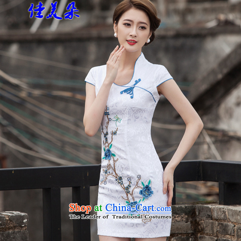 Jia Mei flower�  spring and summer 2015 New Chinese Antique style qipao embroidery daily cheongsam dress 1128_ blue燣