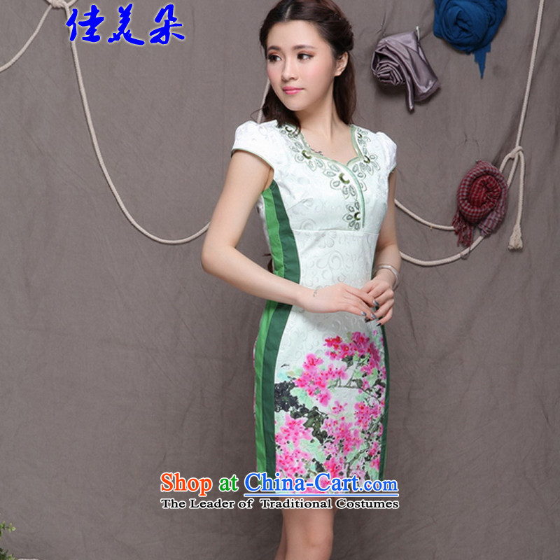 Jia Mei? 2015 new national flower-style Chinese cheongsam dress daily retro graphics build qipao 9906# Sau San green?XL