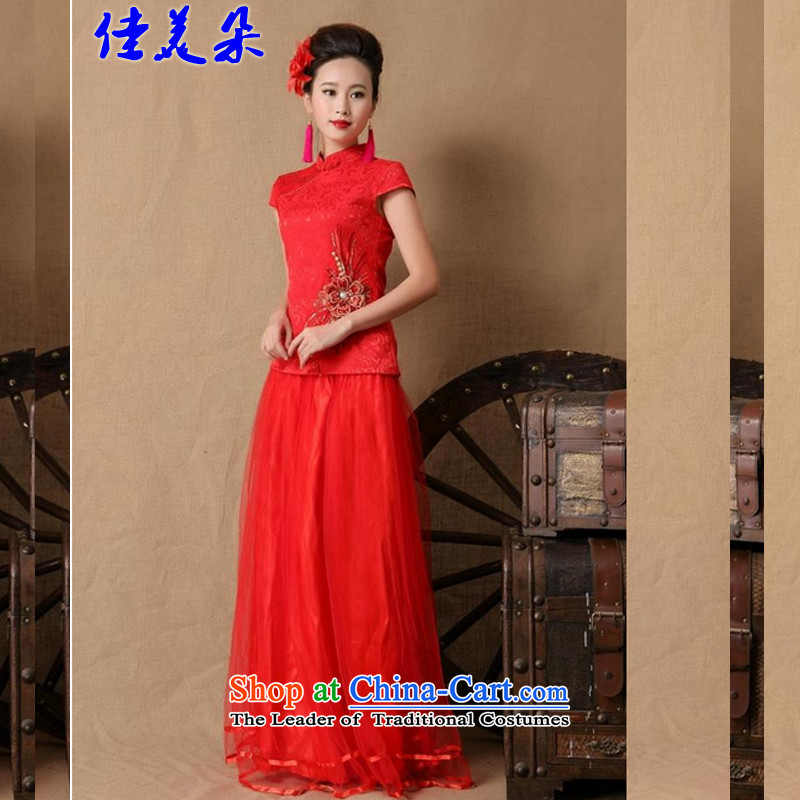 Good flower new marriages Ceremony 2015 cheongsam dress red long bows evening dress stylish 6646# red?L