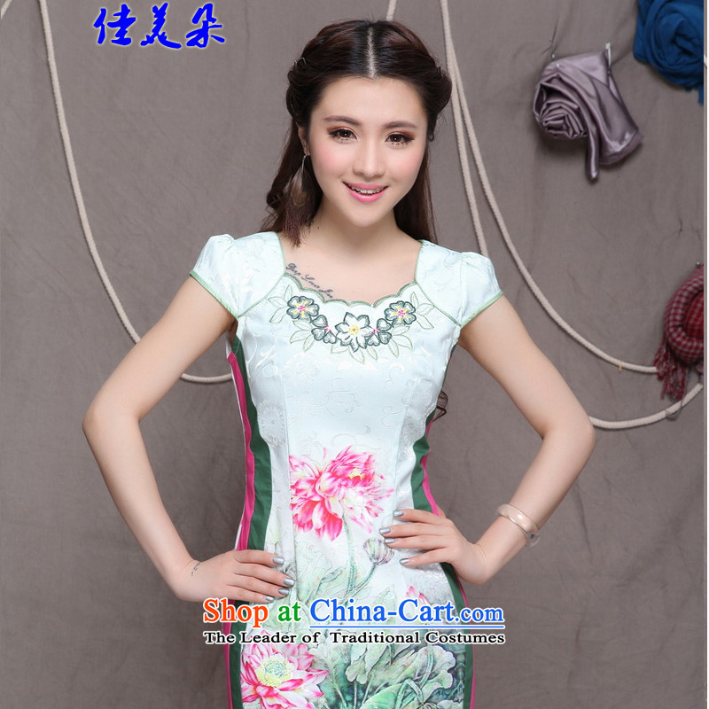 Jia Mei�  2015 Flower New China wind stylish ethnic improved cheongsam dress elegance 9909_ picture color燲XL