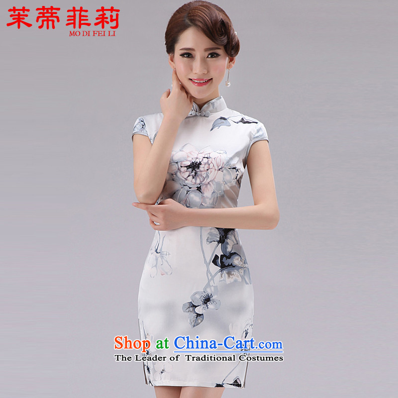 Energy Tifi Li emulation silk cheongsam dress summer elegant ethnic retro stamp Sau San Women's dresses silver?M